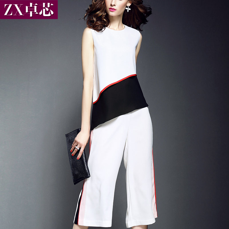 Zx/zhuo core 2016 summer new women's personality hit color sleeveless piece pant suit fashion 3041