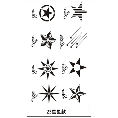 10 free shipping men and women waterproof paint invisible scar cover tattoos personality simulation tattoo stickers (stars)