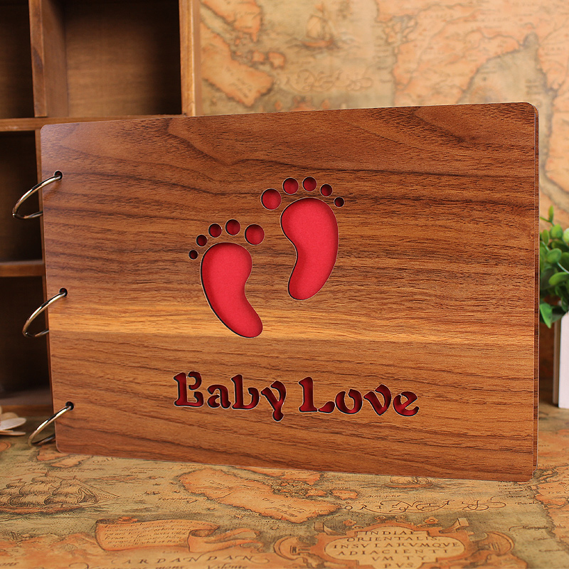 10 inch 6 inch woodiness couple baby grow creative gift wood cartoon thick handmade diy paste this album
