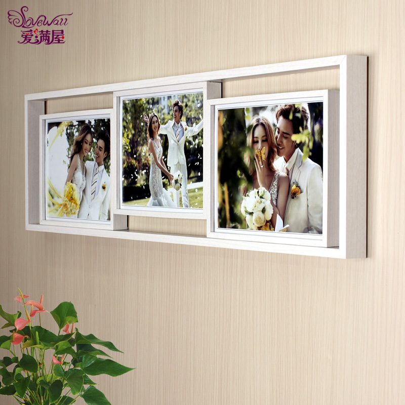 10 inch thick frame combination siamese korean wedding art children grow large wooden bed head wall photo frame