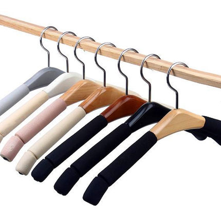 10 mounted seamless wood hangers wooden hanger sponge clothes hangers for hanging clothes child support slip hanger hanger bearing