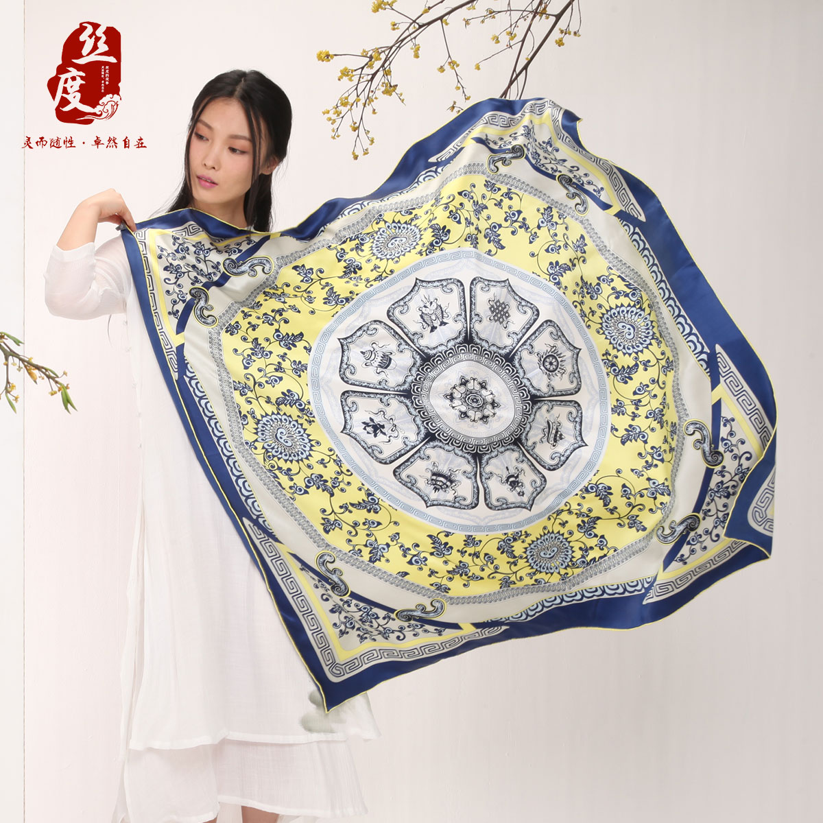 100% degrees in spring and autumn silk scarf silk scarf shawl beautifully printed silk scarf female winter scarf silk scarves silk scarves