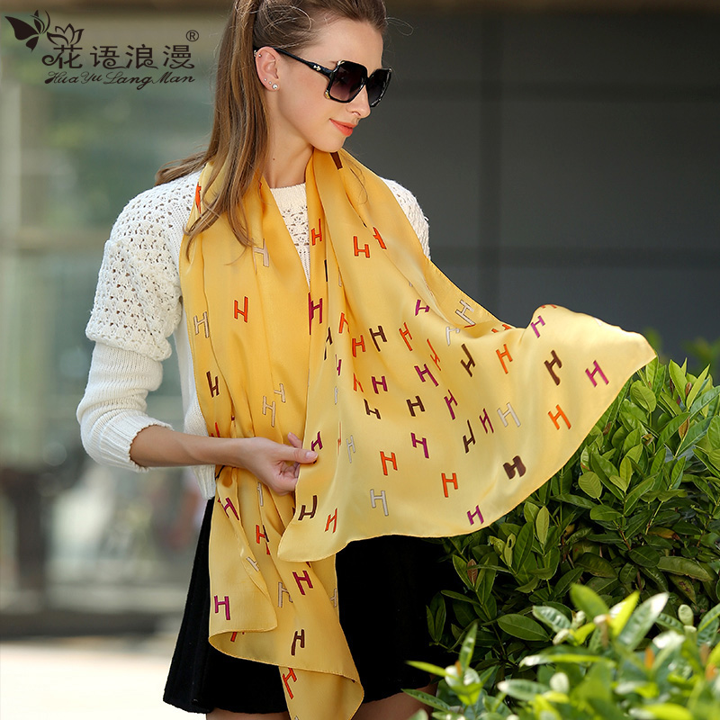 100 silk long silk scarves silk scarves silk scarf female summer korean version of the spring and winter dual shoulder draped scarf sunscreen