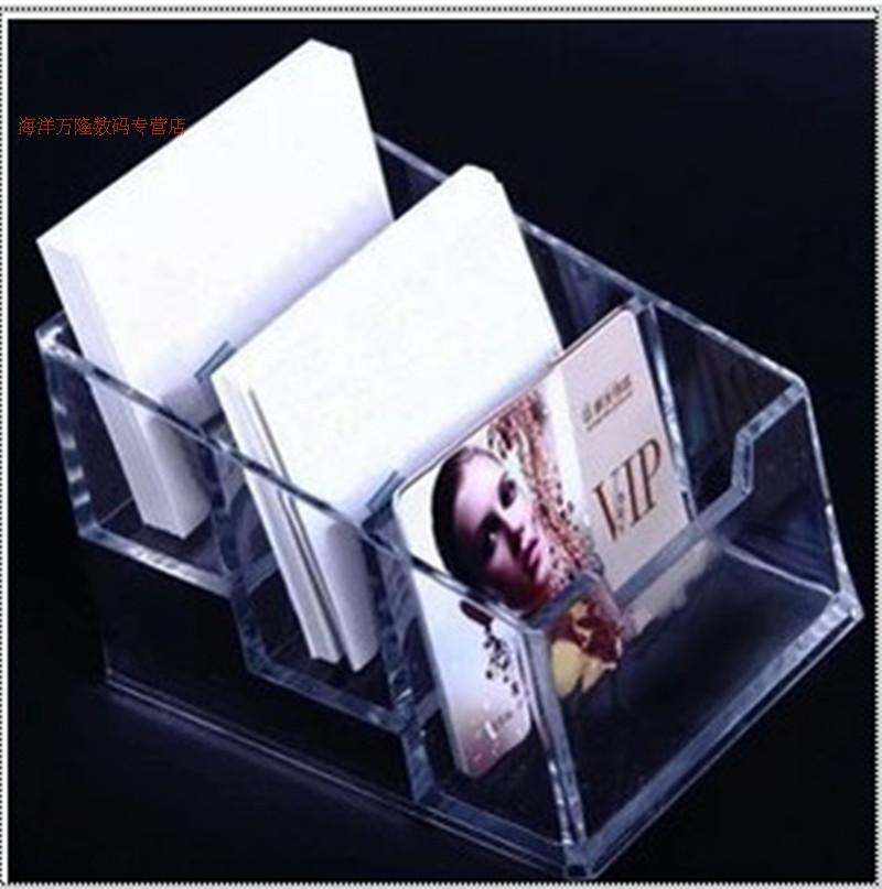Office desktop transparent three grid three grid stalls transparent card holder business card holder business card holder 3 card case