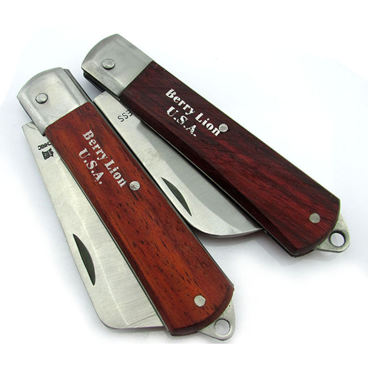Berry lion/budweiser lion wooden handle straight tsui/bend tsui electrician knife multi tool knife knife