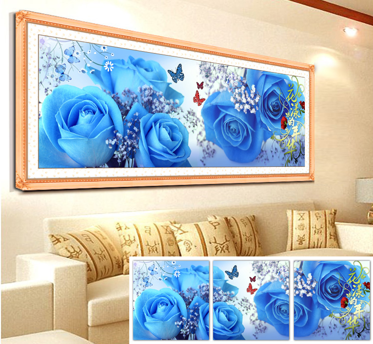 Precision printing silk stitch substantial new living room triptych series mood for love roses love blue