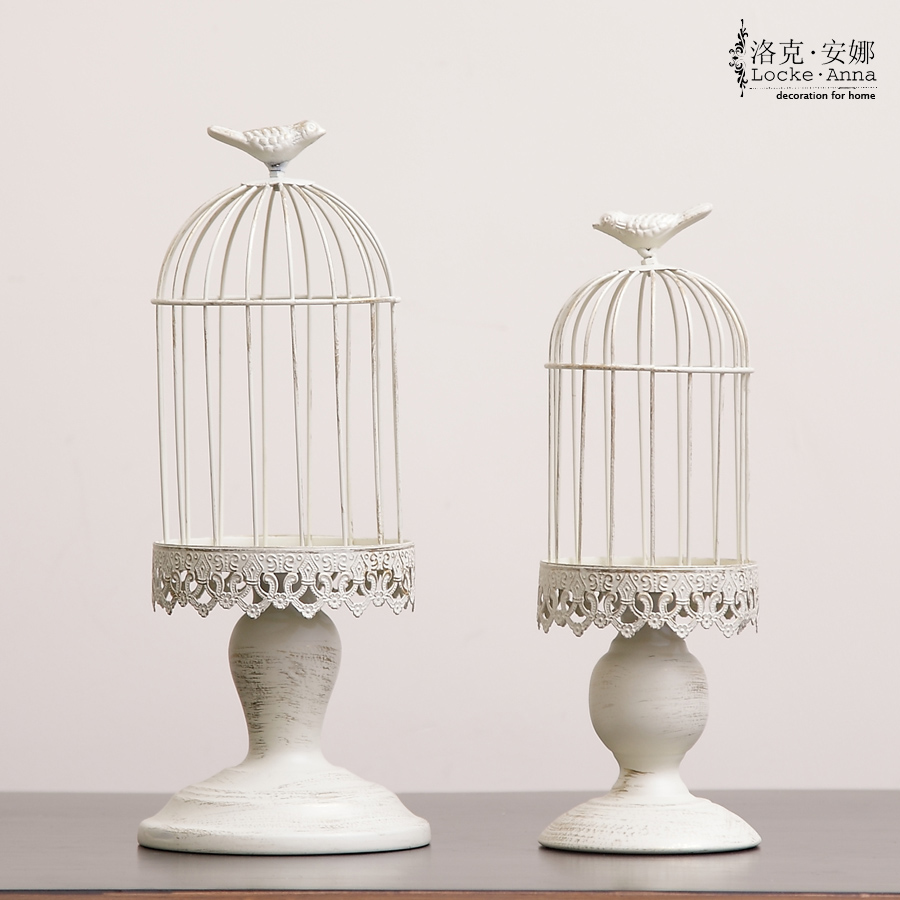 Locke anna european american vintage wrought iron birdcage candlestick small ornaments ornaments creative display props