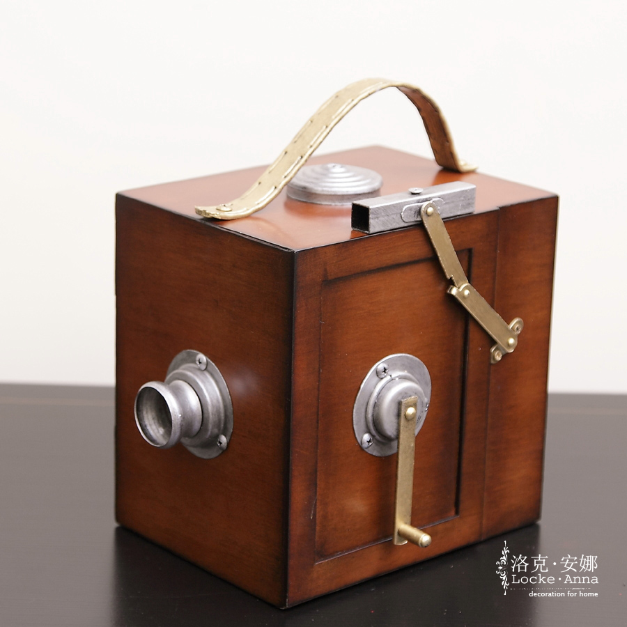 Locke anna european american iron wood vintage camera vintage camera model ornaments road with ornaments