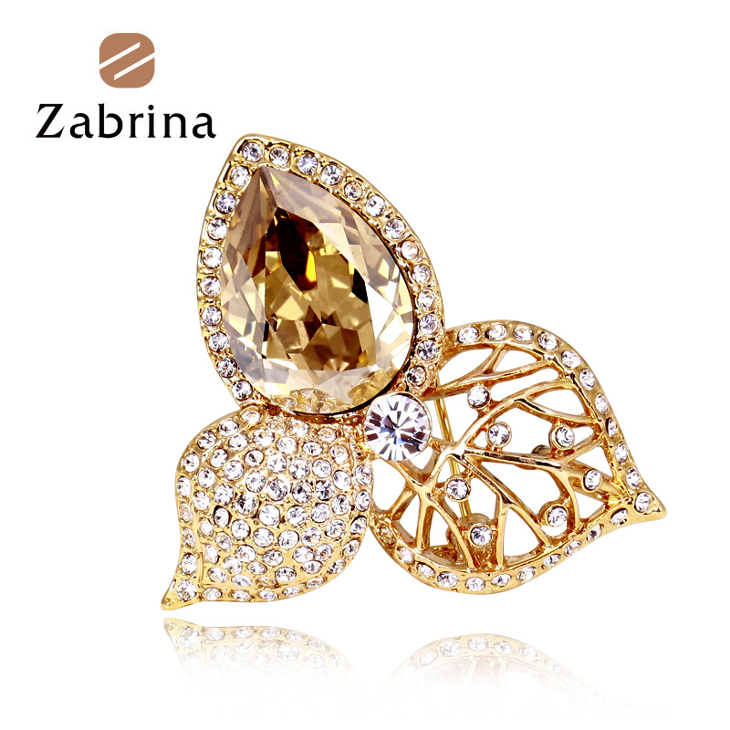 Zabrina korean fashion rhinestone brooch crystal brooch pin female scarf buckle simple wild temperament dress pin