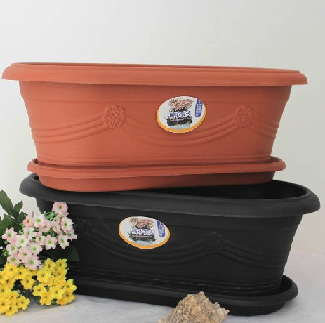 Qian grass set plastic square grooves oval resin pots vegetables basin courtyard balcony planting pots kitchen