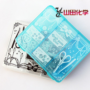 Japan imported jewelry box grid transparent plastic storage box office desktop plastic storage box 424