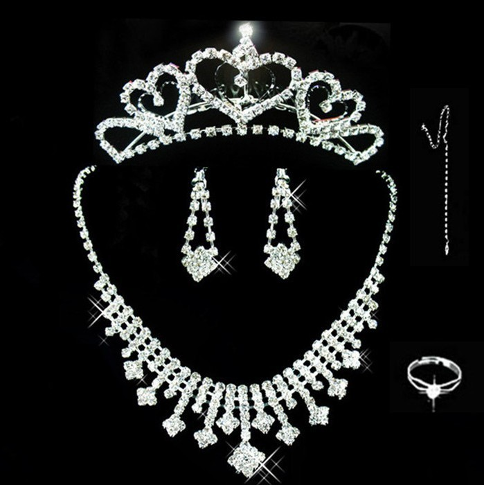 Silver rhinestone bridal necklace bridal jewelry korean crystal jewelry sets wedding accessories three sets