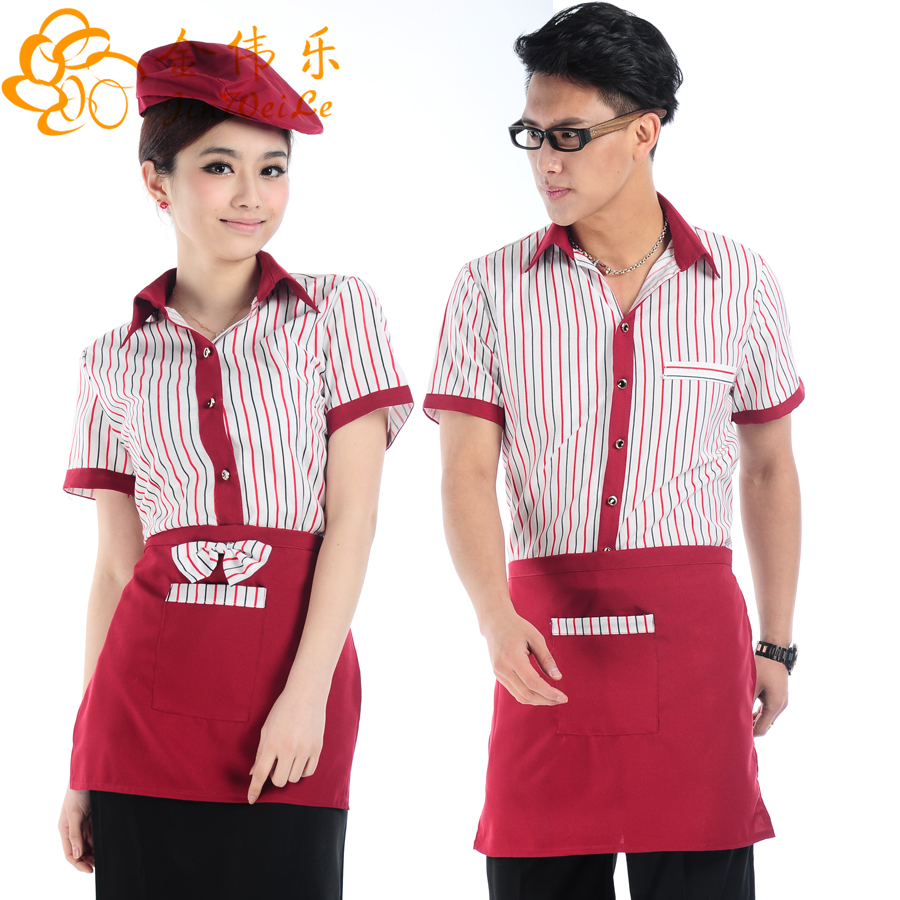 Kim wai lok hotel overalls summer hotel restaurant waiter overalls summer fast food restaurant uniforms hotel uniforms sleeved