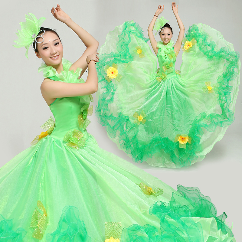 3f7b7f5add867 Get Quotations · Green big opening dance skirt big opening dance costume  costumes dance skirt modern dance costume stage