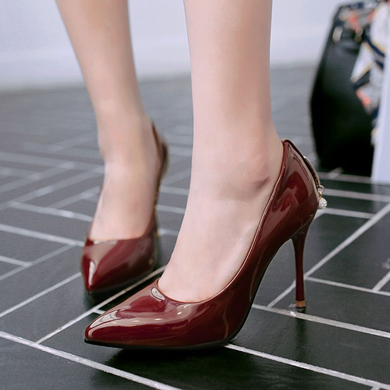 10cm black super high heels pointed fine with a single shoe shoes women shoes spring and autumn burgundy patent leather shallow mouth sexy shoes nightclub
