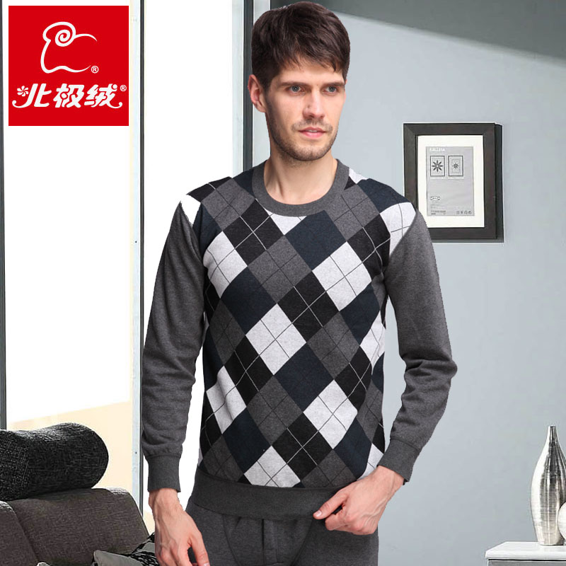 Beiji rong men's youth plus thick velvet jacquard diamond round neck thermal underwear sets cold winter plaid