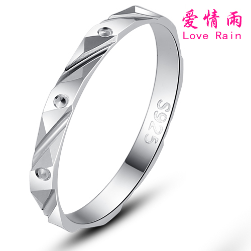 Cheap female ring love rain simple fashion 7 sterling silver ring tail ring korean silver jewelry free lettering shipping