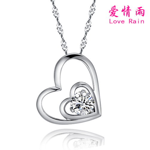 New love rain korean inlaid artificial gemstones necklace female s925 silver chain necklace silver pendant free shipping