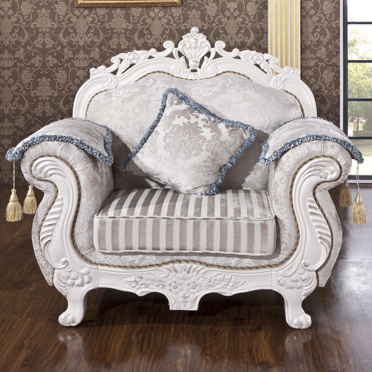 Thousands of united states nest home european neoclassical carved wood sofa fabric sofa minimalist small apartment living room combination