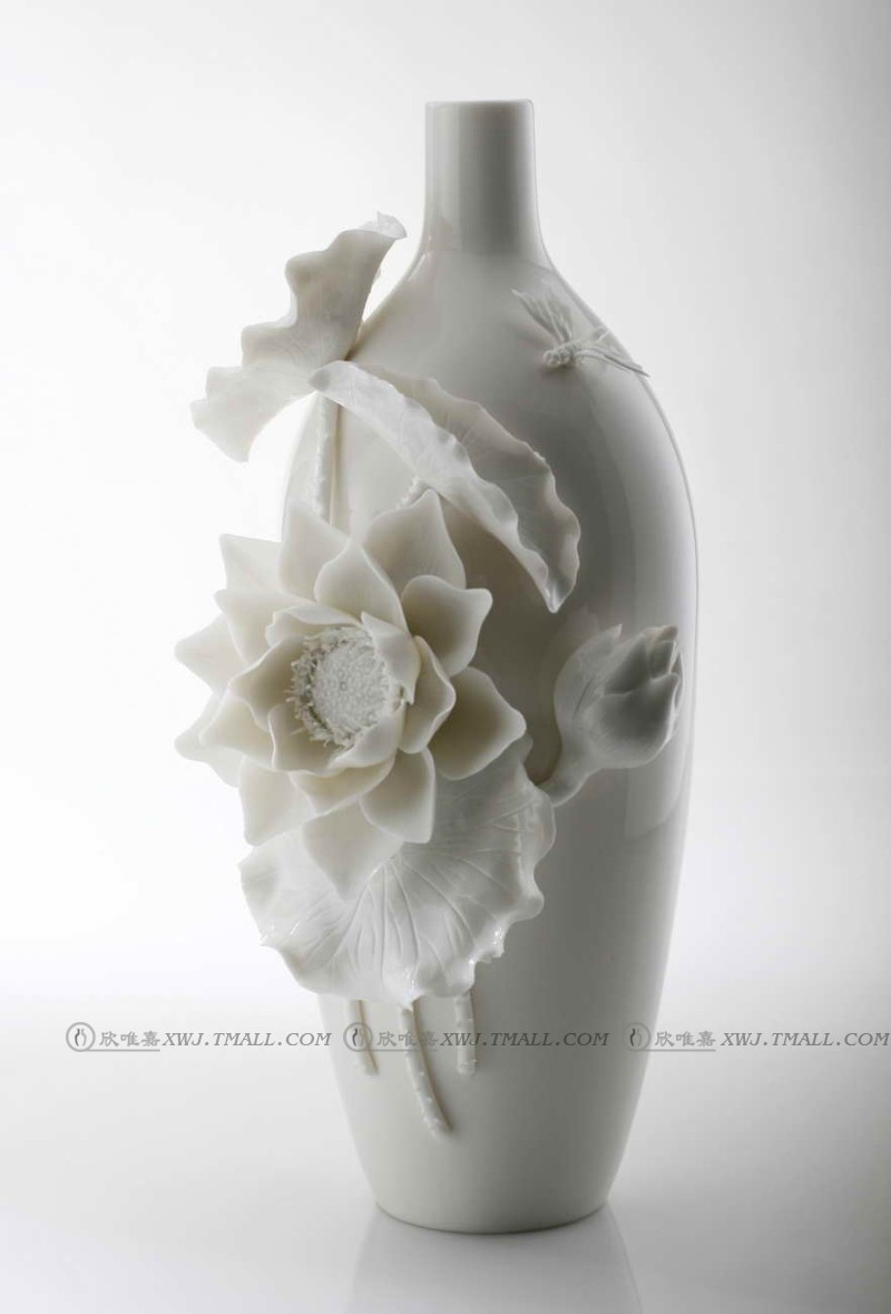 Lotus modern chinese ceramic vase ornaments crafts home decoration wedding ceremony decorations hotel model room accessories