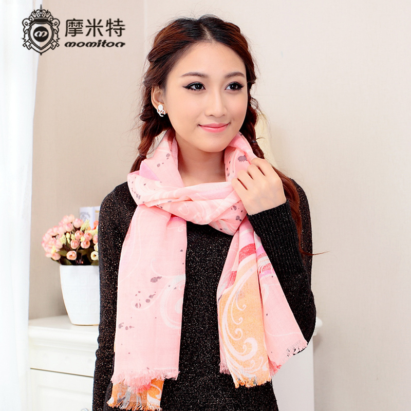 Momiton ladies casual korean version of the fall and winter days wool scarf shawl fashion warm abstract print