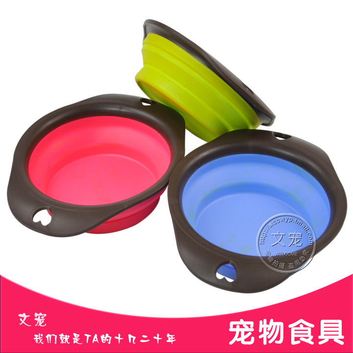 High quality pet cats and dogs water bowl outdoor portable folding silicone folding bowl