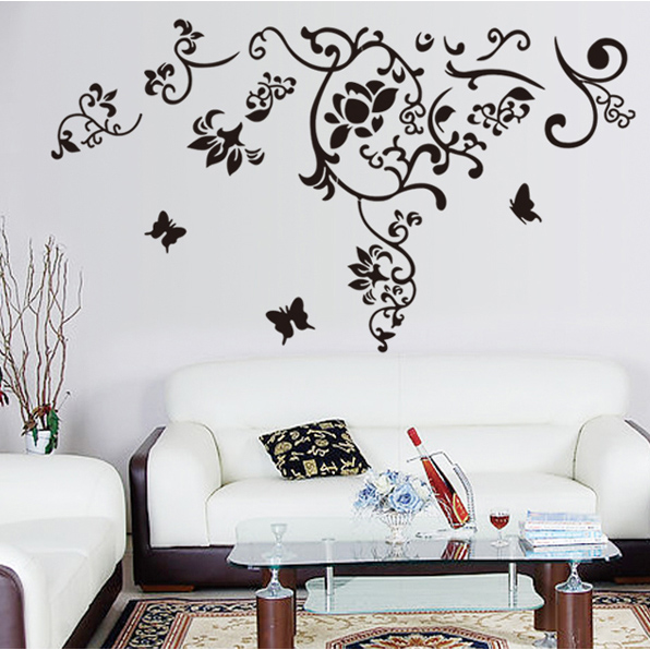 Cheap flower vine bedroom living room tv wall stickers european tv backdrop tv wall removable wall stickers