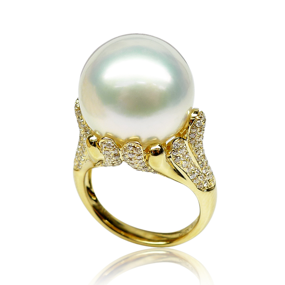 Qin think [streamer series] white south sea pearl ring 15.1mm luxurious atmosphere custom models
