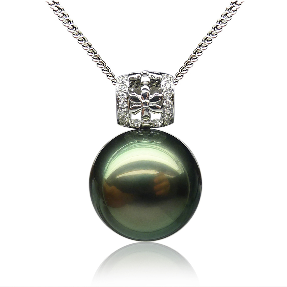 Qin think 13.60MM18K seawater tahitian black pearl pendant gold atmospheric mysterious pearl of high quality