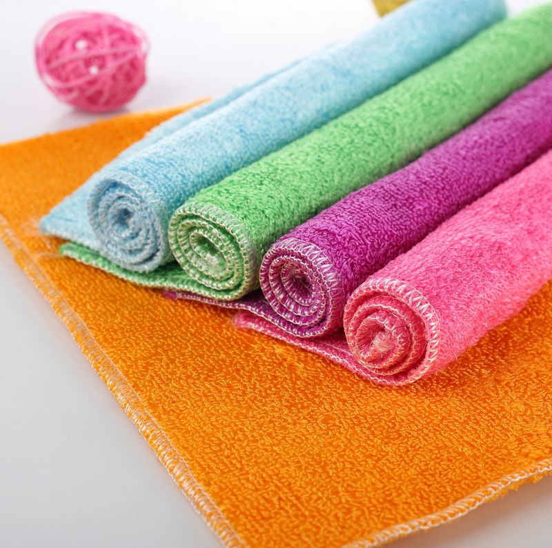 Bamboo fiber wash cloth dish towel kitchen scouring pad rag bamboo slip rub wipe dishcloths not contaminated with oil cloth