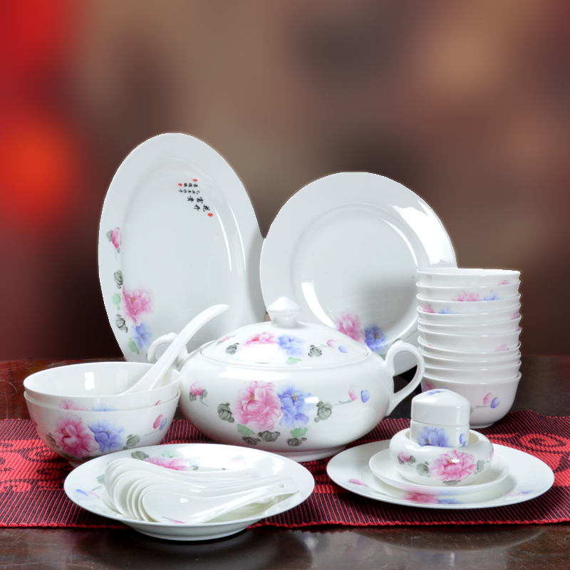 [Jinyu] jingdezhen ceramics genuine painted ceramic tableware cutlery set 56 chinese continental
