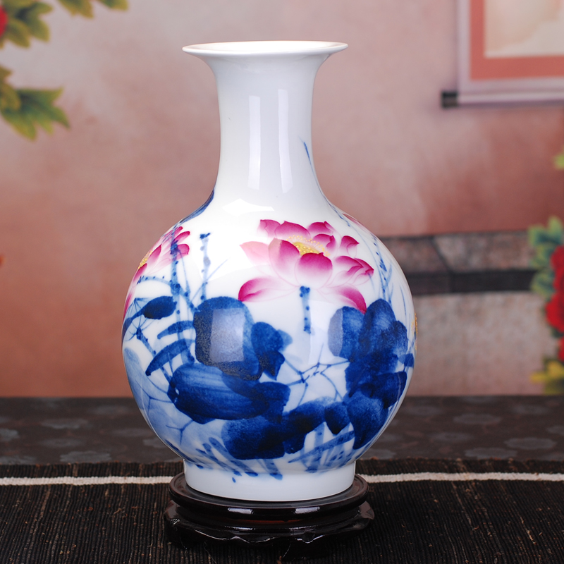160 of jingdezhen ceramic vase painted pastel blue and white porcelain doucai lotus living room home crafts ornaments