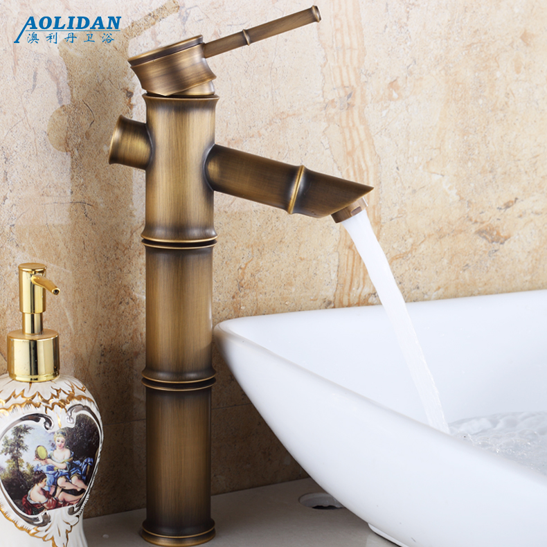 Antique copper basin faucet hot and cold continental basin undercounter basin washbasin faucet hole heightening luxurious qualities slubby