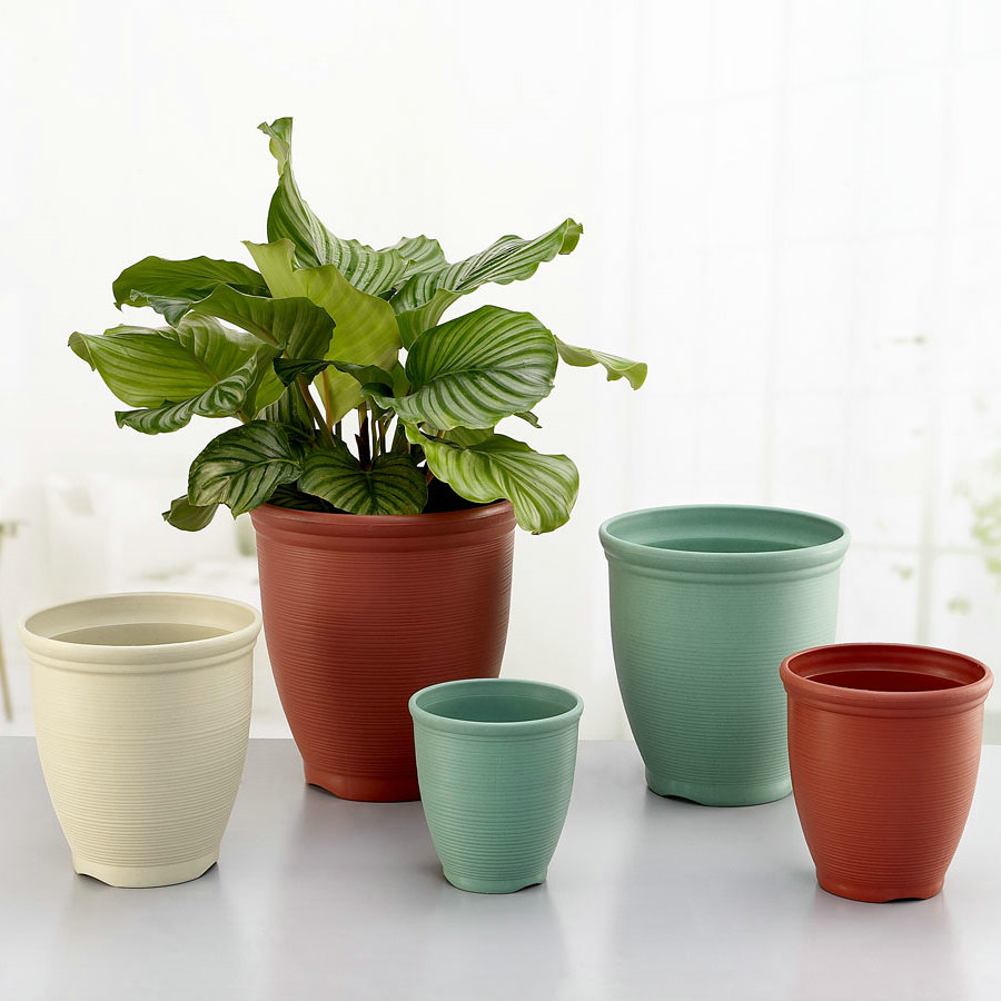 Honesty plastic pots round pots kinds of high imitation ceramic pots home garden green radish plants potted plants pots