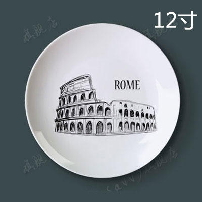 12 inch urban silhouette porcelain decorative plate hanging plate sit plate ceramic dish plate wobble creative home wall craft dish