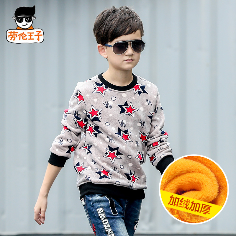 12 winter big virgin boy sweater hedging plus velvet thick warm coat 13 children's t-shirt adolescent years 15 years old