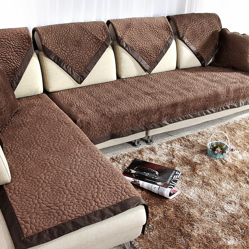 Special fabric leather sofa cushion cushion slip thick winter short plush sofa slipcover ichthyoses flowers sofa slipcover towel full cover