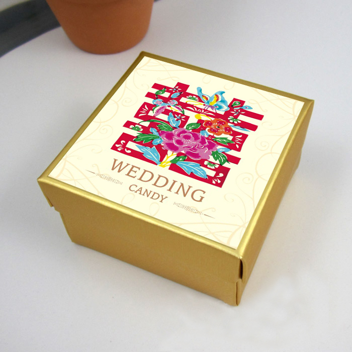 2016 chinese paper cutting hi hi word yesido golden jams candy box wedding candy packaging boxes can be customized