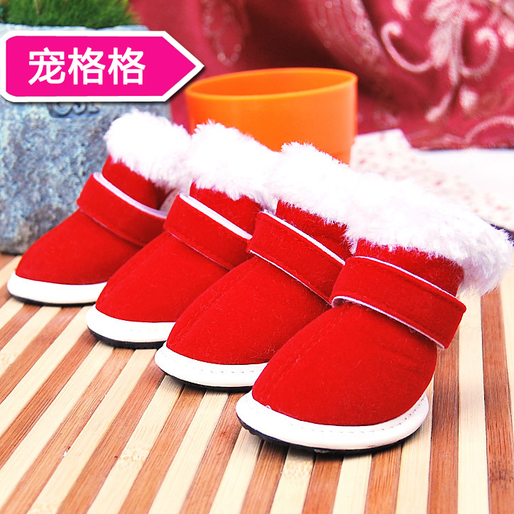 Christmas pet shoes slip shoes dog shoes dog shoes burgundy cat padded casual shoes to keep warm