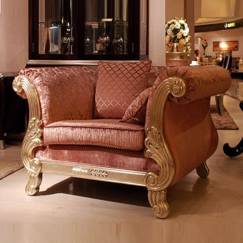Zuoshi home neoclassical single sofa fabric sofa single sofa carved armchair x13017