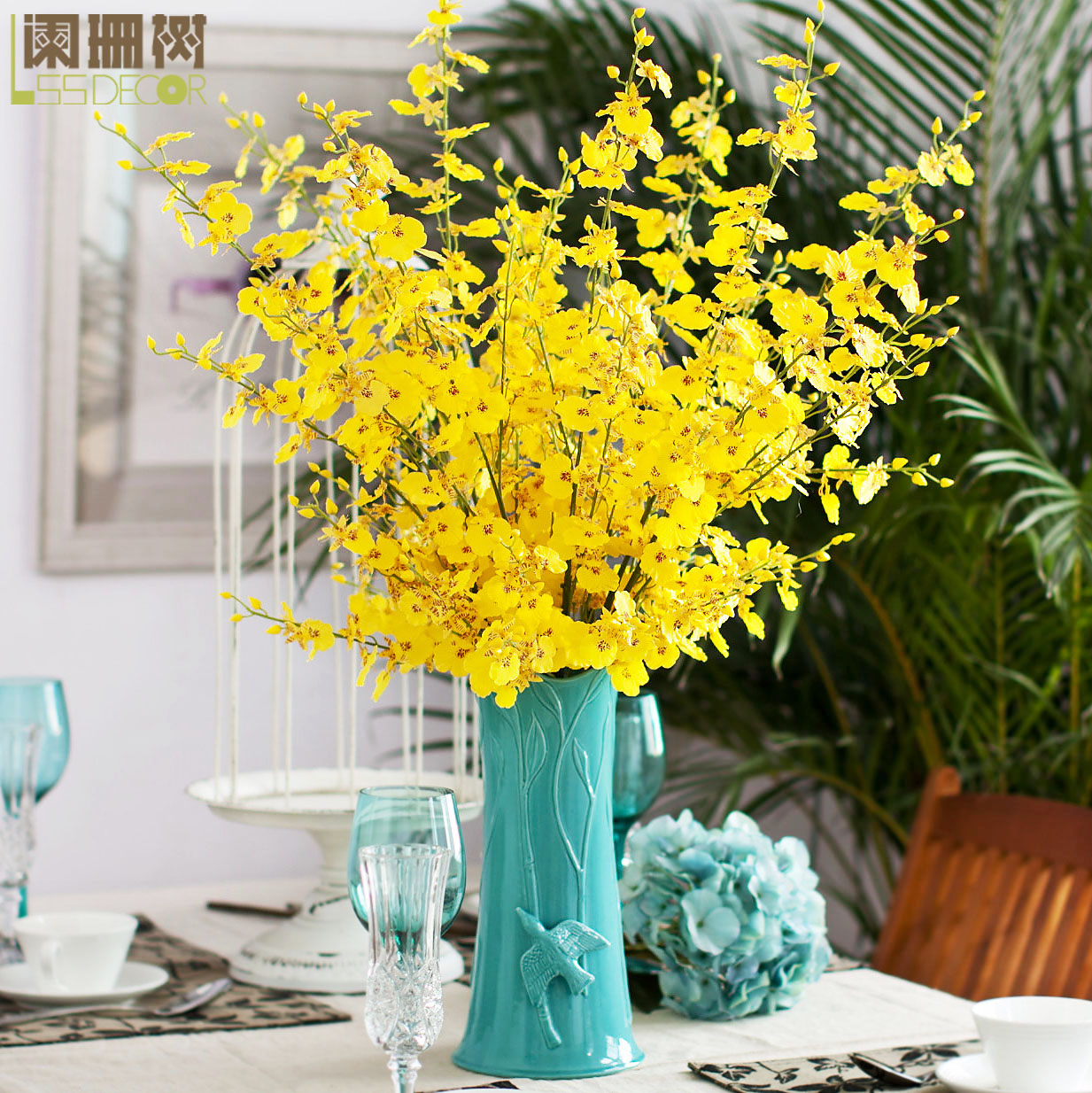 Waning tree-japanese fresh living room dancing orchid artificial flowers artificial flowers silk flower table decorations ornaments