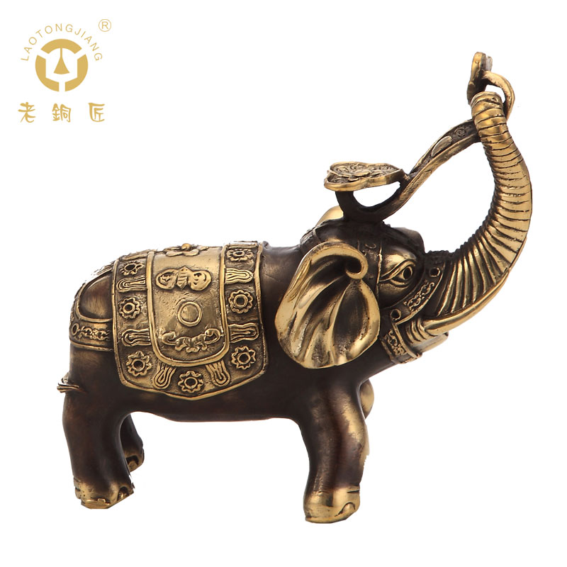 Old coppersmith copper auspicious elephant ornaments home accessories mascot home decorations gifts sale