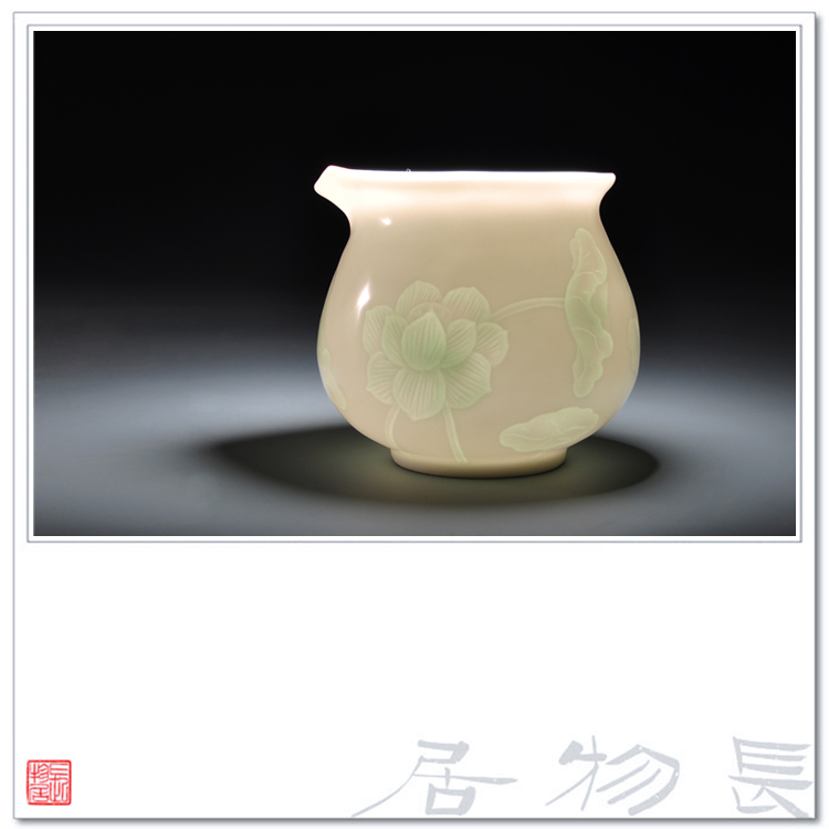 View of the flavor shadow green glazed porcelain public fair cup cup dark carved lotus jingdezhen handmade ceramic tea cup