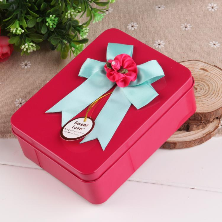 Creative wedding supplies wedding personalized wedding candy box candy packaging tin box tin colored bow