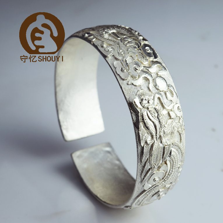 Shou yi yunnan features handmade silver bracelet 999 sterling silver bracelet dragon and phoenix bracelet handmade bracelet lijiang