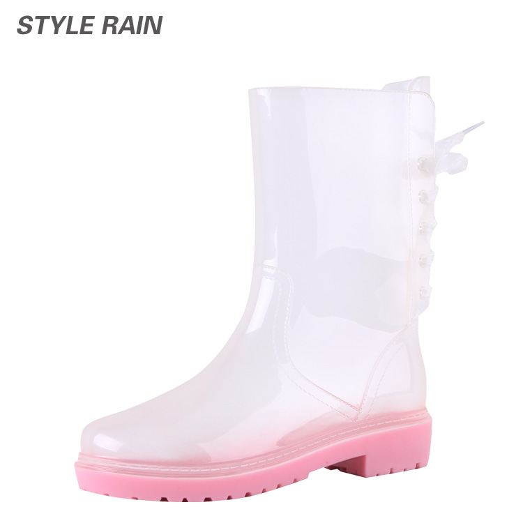 Lin era new korean version of the transparent rubber boots female boots fashion color at the end ms. water shoes rain boots wellies female hg002