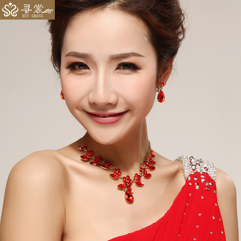 Get Quotations Red Cheongsam Dress Bride Wedding Jewelry Necklace Earrings Bridal Accessories 43