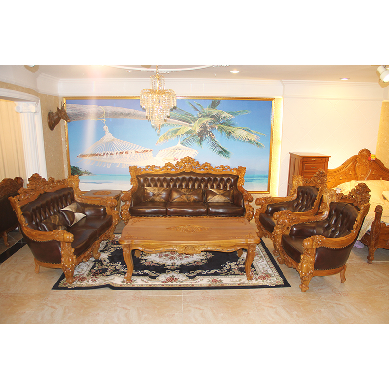 Emperor pomelo rose golden teak wood sofa combination living room furniture suite teak wood sofa continental furniture