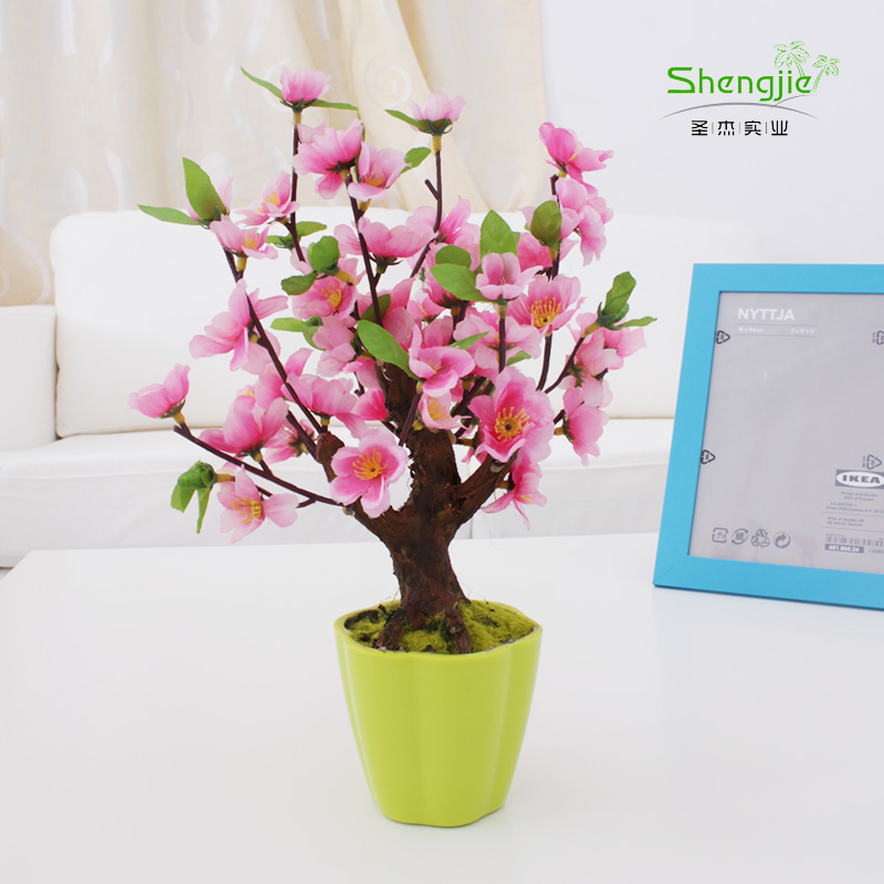 Simulation peach peach tree bonsai tree fake tree artificial flowers silk flower decoration desktop floral suit pastoral home living room decorations