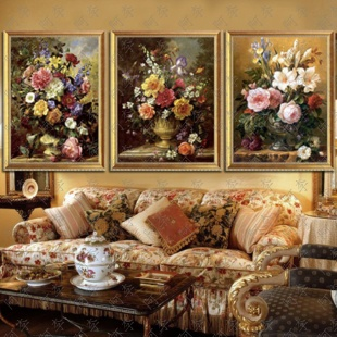 European classical flower oil painting handmade painted murals decorate the living room villa restaurant entrance framed painting electrical boxes